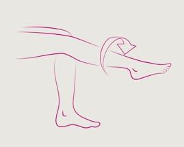 4 venų mankštos pratimo, pėdos sukimo, iliustracija