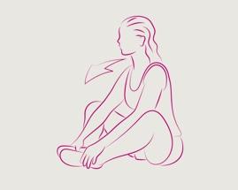 Moteris sėdi suglaudusi pėdas ir tempia vidinius šlaunų raumenis.