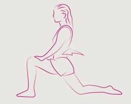 Moteris, daranti įtūpstą; priekyje esanti koja sulenkta 90 laipsnių kampu.